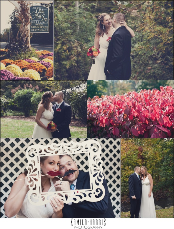 NJ Wedding Photographer, Bride and Groom, Fall Wedding, Olde Mill Inn, Basking Ridge NJ