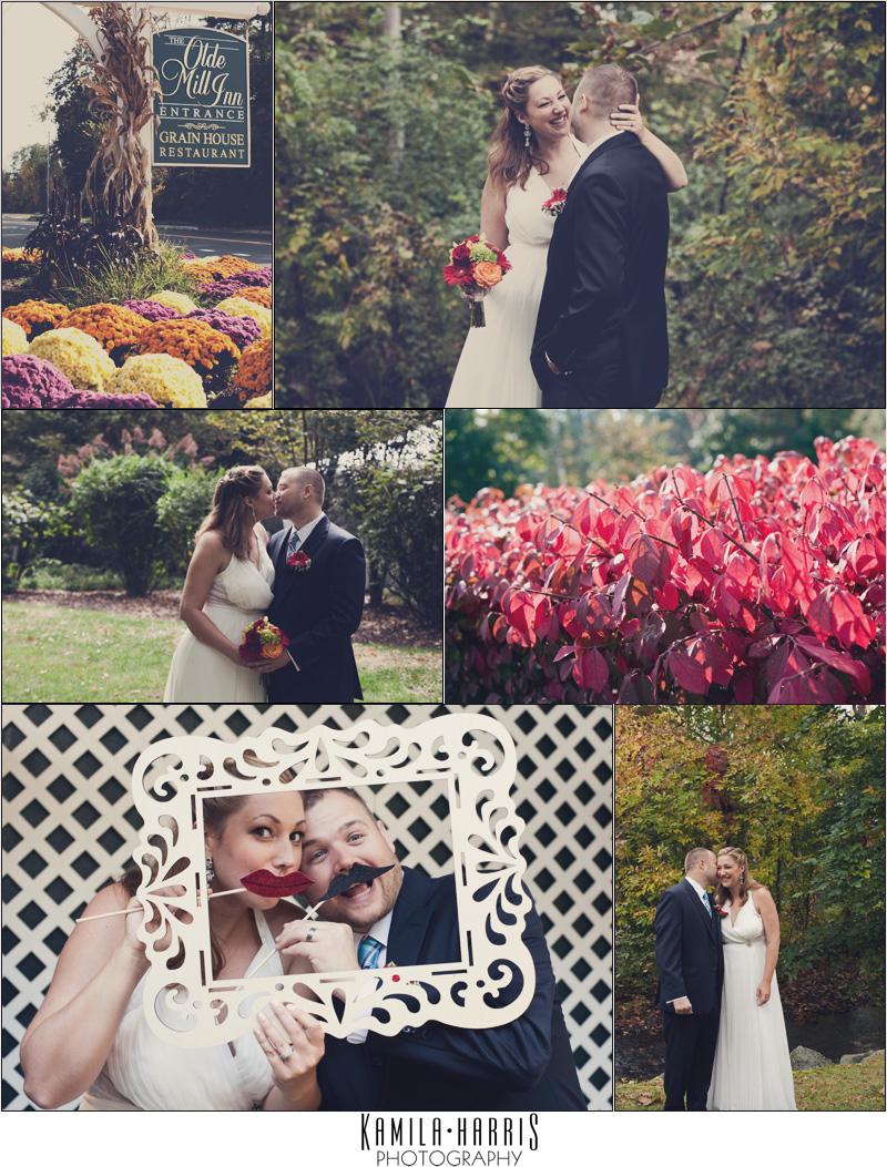 NJ Wedding Photographer, Bride and Groom, Fall Wedding, Olde Mill Inn, Basking Ridge NJ