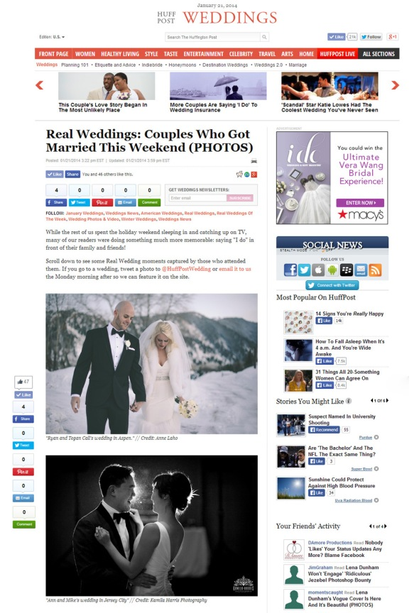 Kamila Harris Photography featured on Huffington Post NJ NY CT PA Wedding Photographer