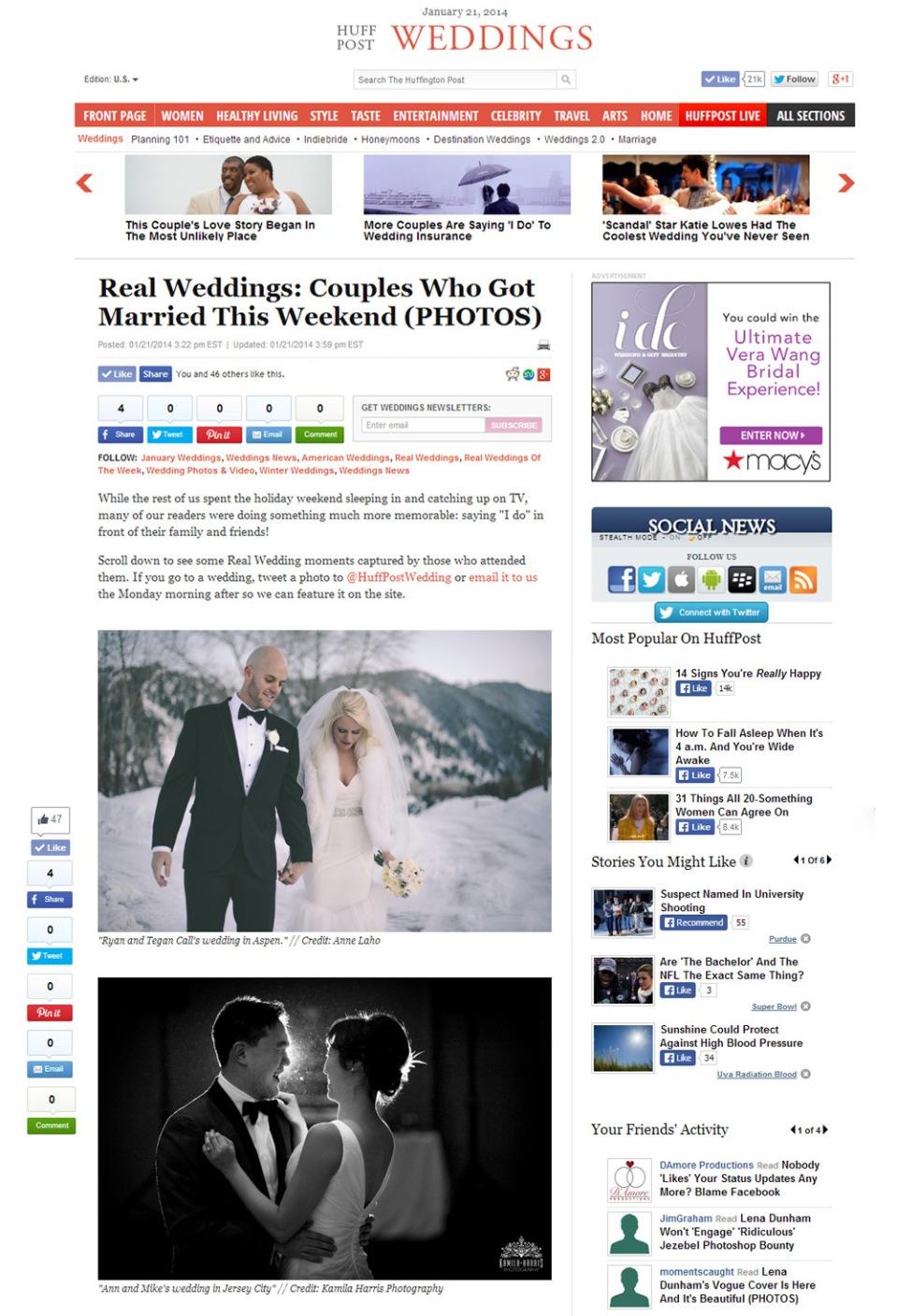 Kamila Harris Photography featured on Huffington Post NJ NY CT PA Wedding Photographer