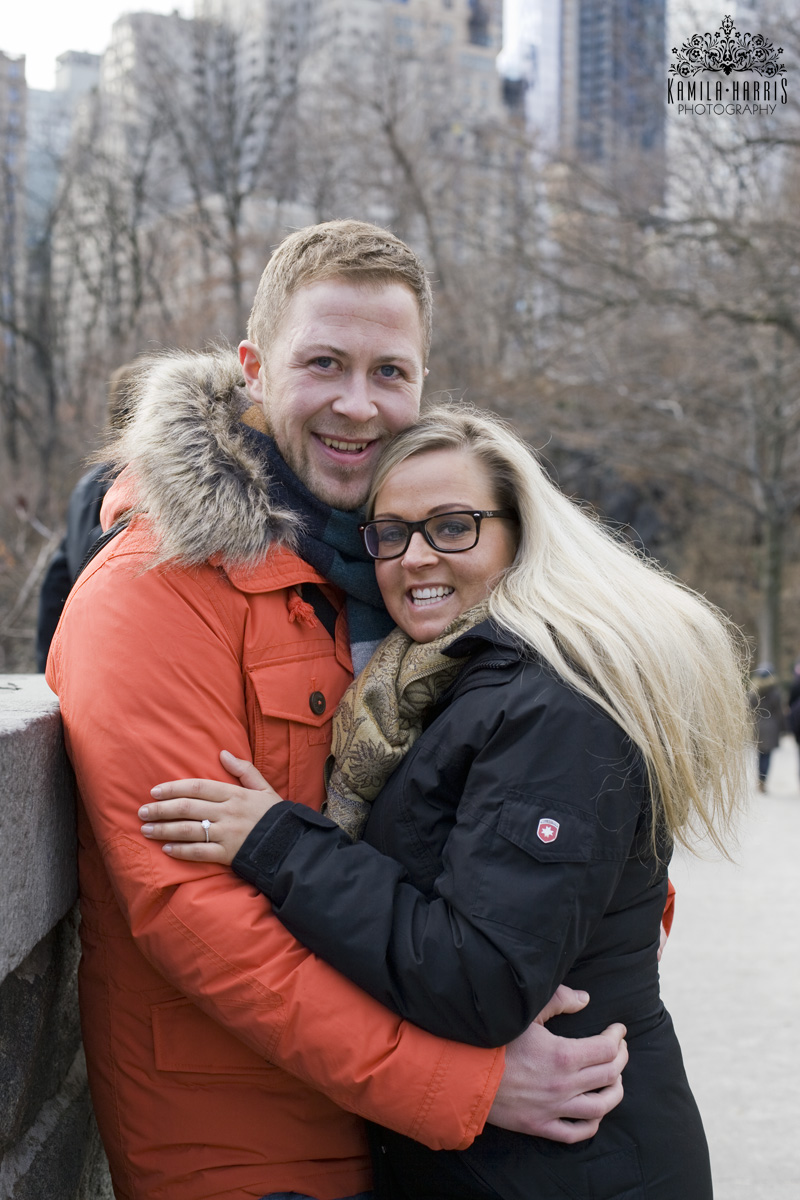 Winter Proposal  in New York, NYC Surprise Proposal and Engagement Photography by Kamila Harris Photography
