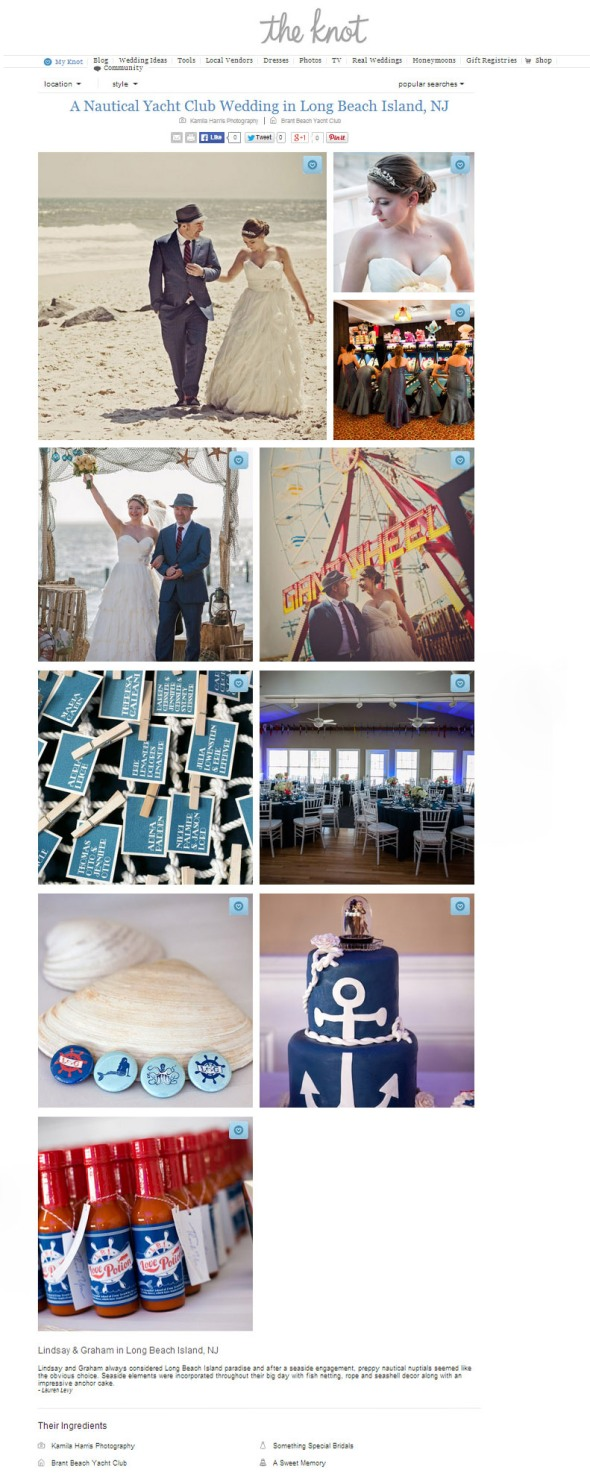 Published in The Knot Real Weddings New Jersey New York Wedding Photographer Kamila Harris Photography Brant Beach Yacht Club Long Beach Island LBI NJ