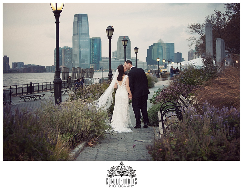 Manhattan Wedding Battery Gardens NYC Fall Cloudy Jewish Catholic New York City