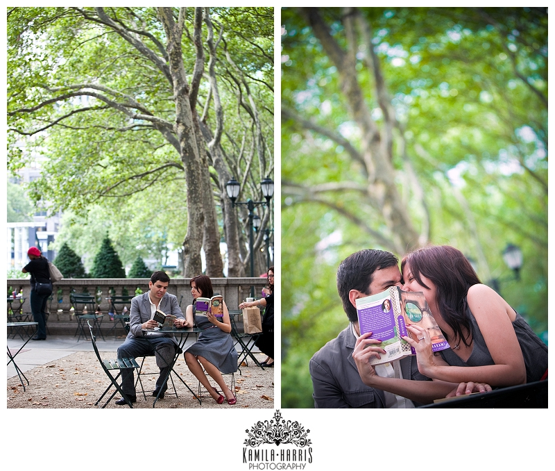 Bryant Park Engagement Session NYC Manhattan Photographer