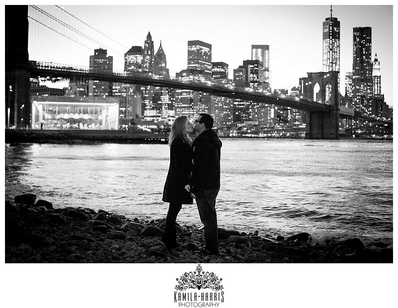 NYC Surprise Proposal Photography Brooklyn Bridge Park Manhattan Skyline Views