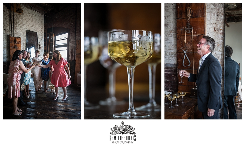 toast, bride, father, loft, brooklyn, dumbo