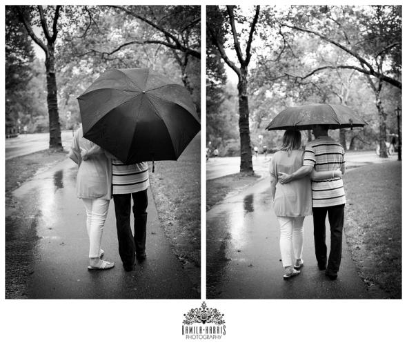 Central Park, Engagement session, rain, umbrealla, pond, NYC