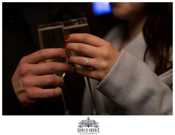 NYC Proposal Engaged Rockefeller Center Engagement Ring Closeup
