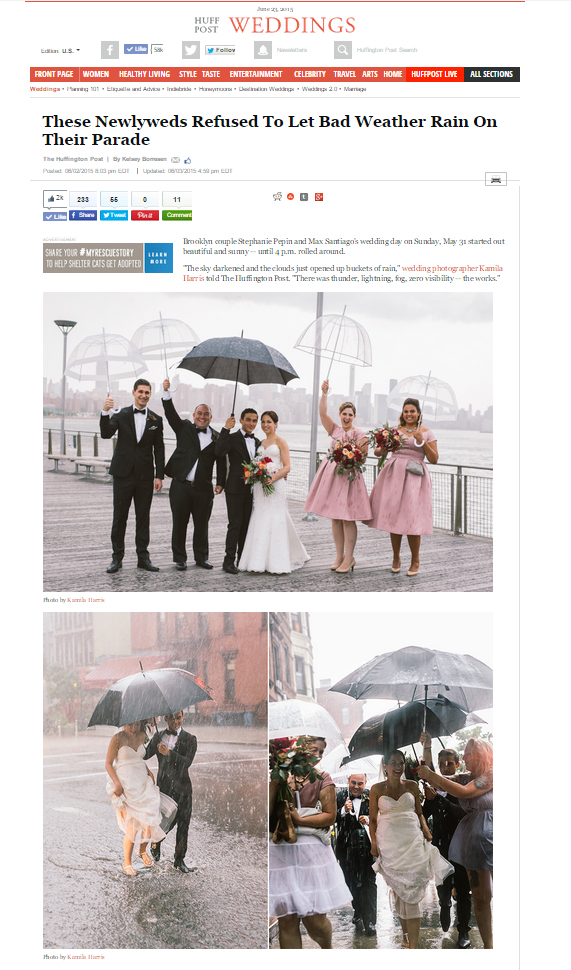 These Newlyweds Refused to let Bad Weather Rain on Their Parade, Rainy Wedding, Wettest Wedding, Brooklyn, NYC