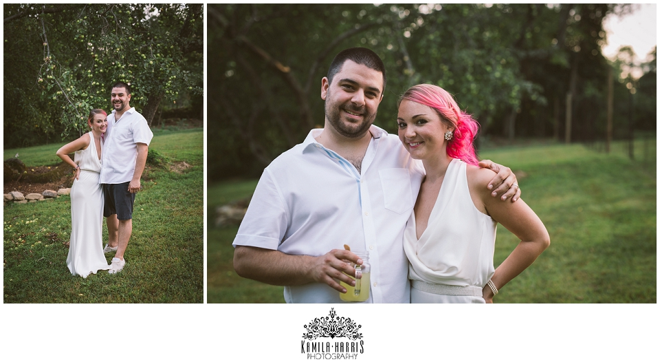NJ Wedding Photographer, Backyard wedding, chill, relaxed, unique, awesome, offbeat, wedding, pink hair, bride, groom, cute, love, sweet, untraditional, nontraditional, offbeat