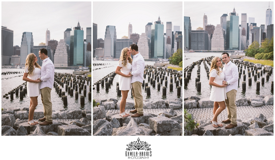 Brooklyn Bridge Park, Dumbo, Engagement Session, NYC, New York, Skyline, Nature, Rustic, Urban, Mirrors, Double Exposure, Black and White, Color, Film look, Matte process, Couple wearing white, Brooklyn Heights, Brooklyn
