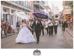 New Orleans Wedding, NOLA Wedding Photographer, New Orleans Wedding Photographer, Hotel Mazarin Wedding, Second Line, Purple, Gold, Feathers, Salon D Nola, Kinfolk Brass Band