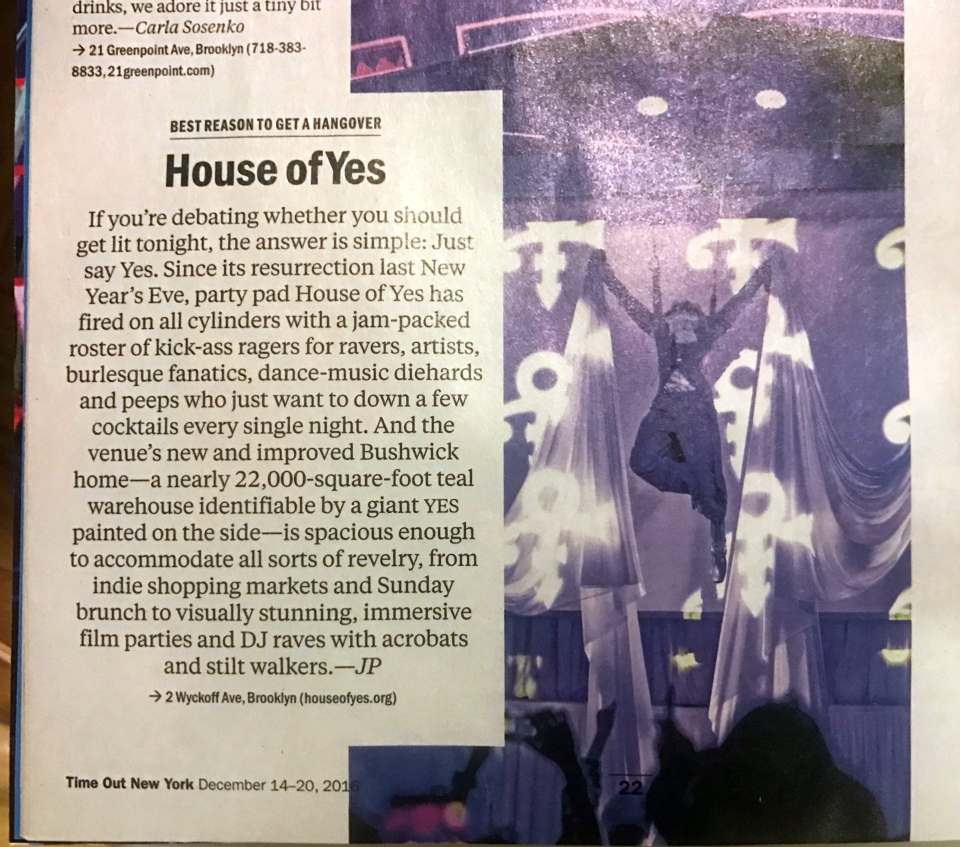 House of Yes, Prince, Time Out New York