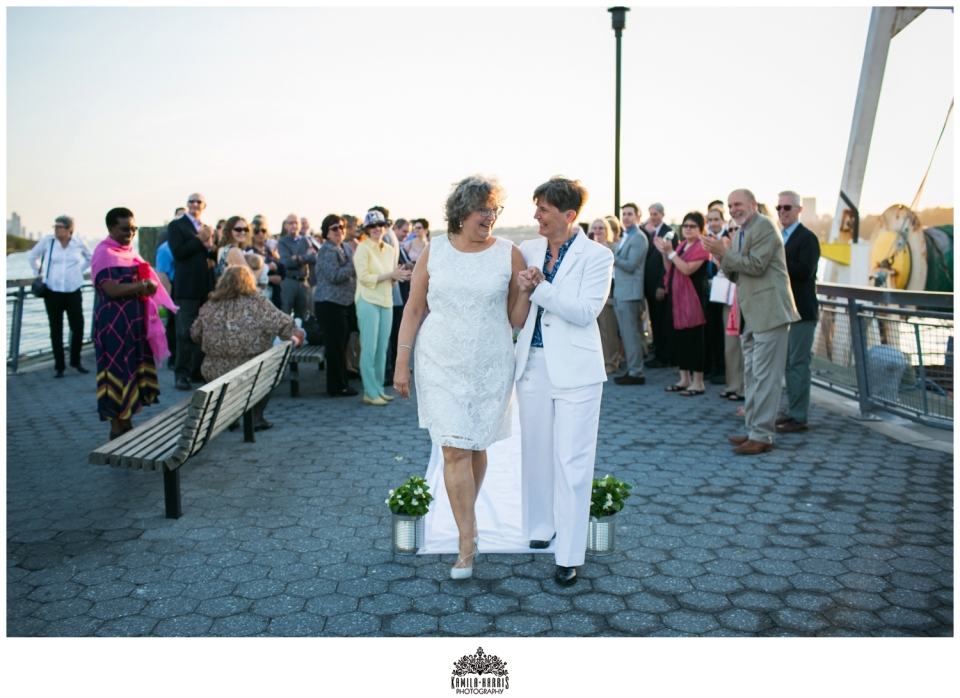 NYC Same Sex Wedding, Two Brides Marry in Riverside Park